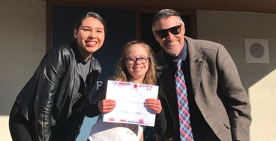 (Left to Right) Newport Pacific Land Co. Representative Katia Tapia, Freedom Crest Elementary SOAR Student Kaitlyn Kennan, and Principal Eli Orr